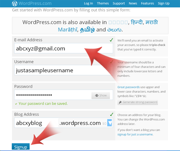 Create a WordPress.com Blog