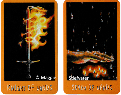 Raven's Prophecy Tarot Knight of Wands Seven of Wands