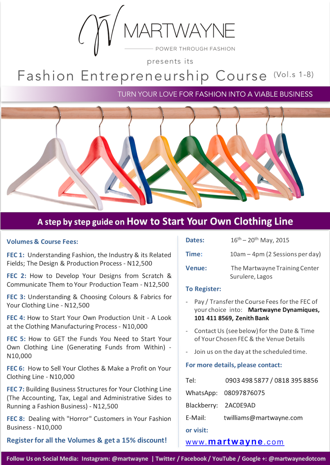 Register for our Fashion Entrepreneurship Course (Vol.s 1-8); Dates: 16th - 20th May, 2016