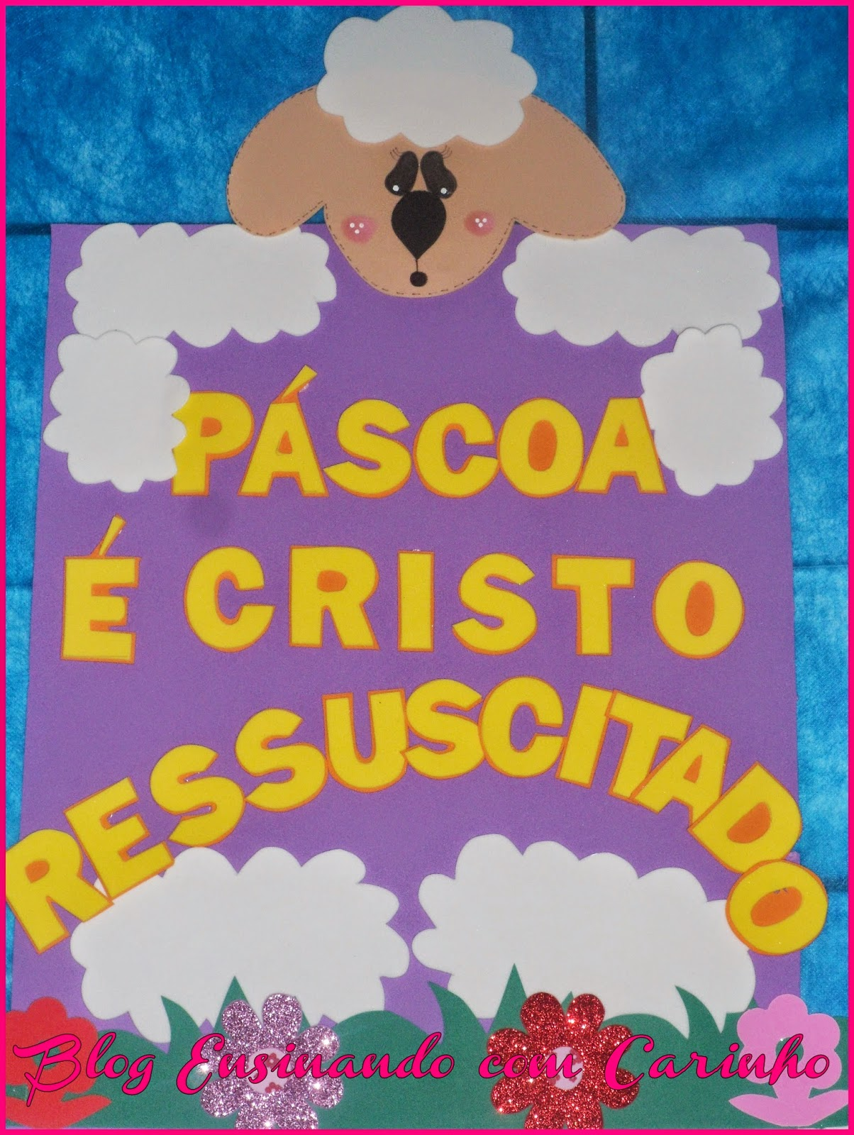 Mural Da Páscoa Cordeiro Ensinando Com Carinho
