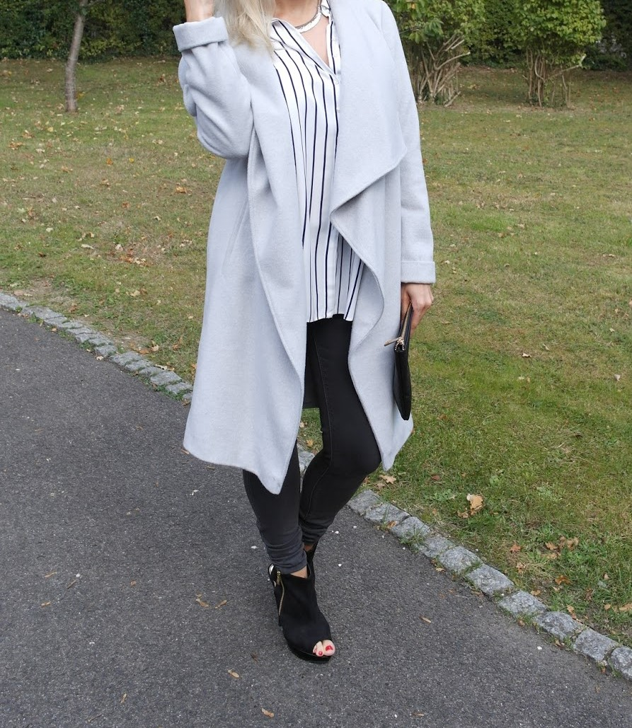 grey winter waterfall coat, dorothy perkins, fashion blogger