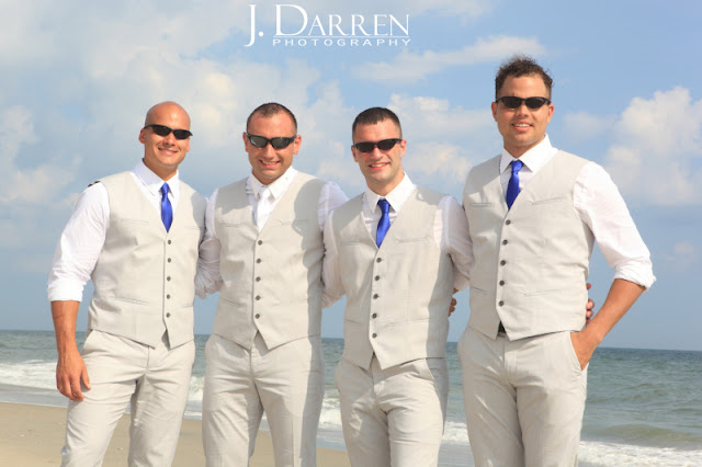 photo of the groomsmen at an Emerald Isle Beach Wedding North Carolina J. Darren Photography