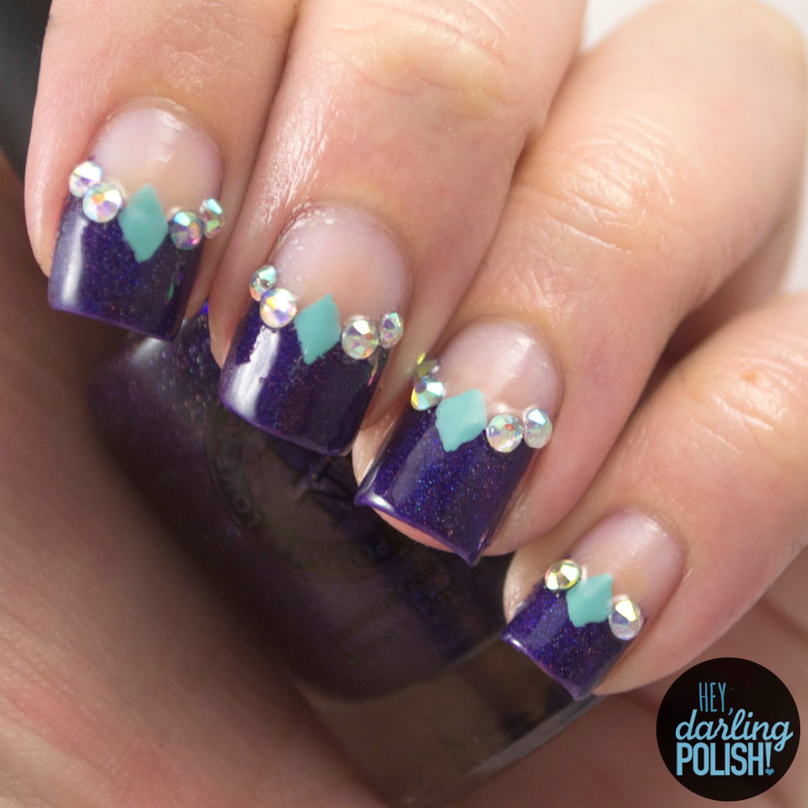 nails, nail art, nail polish, polish, i love nail polish, grape-alicious, negative space, rhinestones, theme buffet