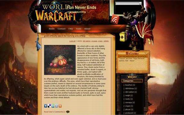 free blogger world of warcraft web2 0 template