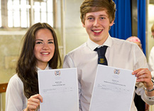 Pupils holding SQA examination certificates