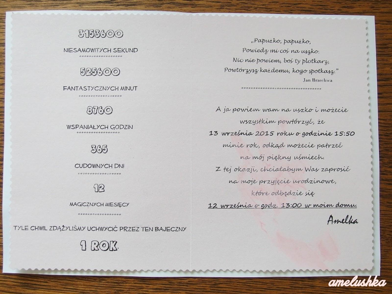 Pierwsze Urodziny Jak Zrobić Zaproszenia Na Roczek Amelushkapl
