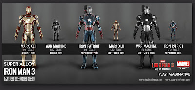 Play Imaginative 1/6 & 1/4 Scale Super Alloy Iron Man 3 Figures - Mark 32, War Machine and Iron Patriot