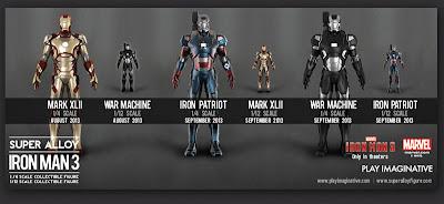 Play Imaginative 1/6 & 1/4 Scale Super Alloy Iron Man 3 Figures - Mark 32, War Machine and Iron Patriot
