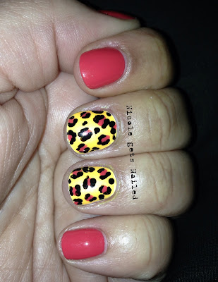 Coral and Orange Leopard Color Changing Nail Art