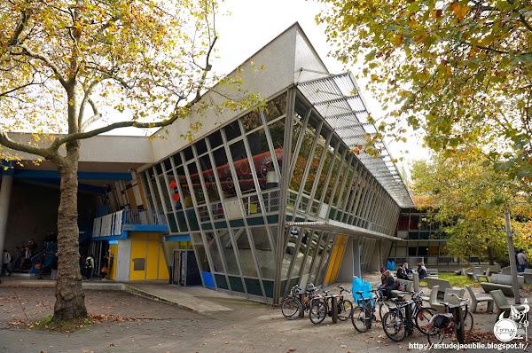 """Nantes - """"Le Tertre"""" - Restaurant Universitaire - Petit Port.  Architecte: Louis Arretche avec André Guillou, Pierre Doucet  Construction: vers 1967"""
