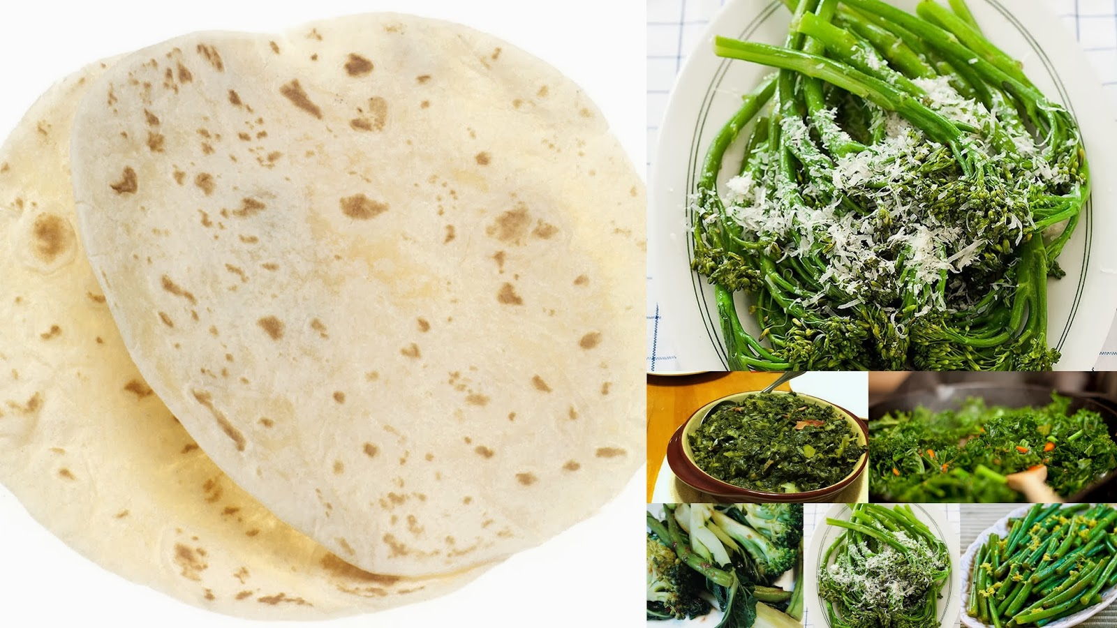 Chapati and green leafy vegetables