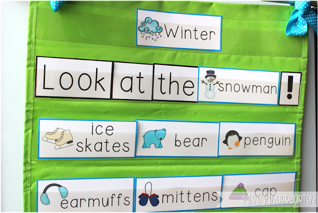 Miss Kindergarten {Winter Word Cards and building sentences}