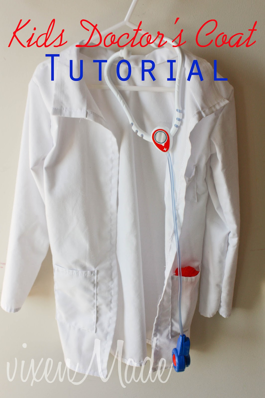 Kids doctors coat tutorial vixenmade parties anyways her request from me was that i create some play casts like from my felt doctors kit for her and a doctors lab coat to wear jeuxipadfo Gallery