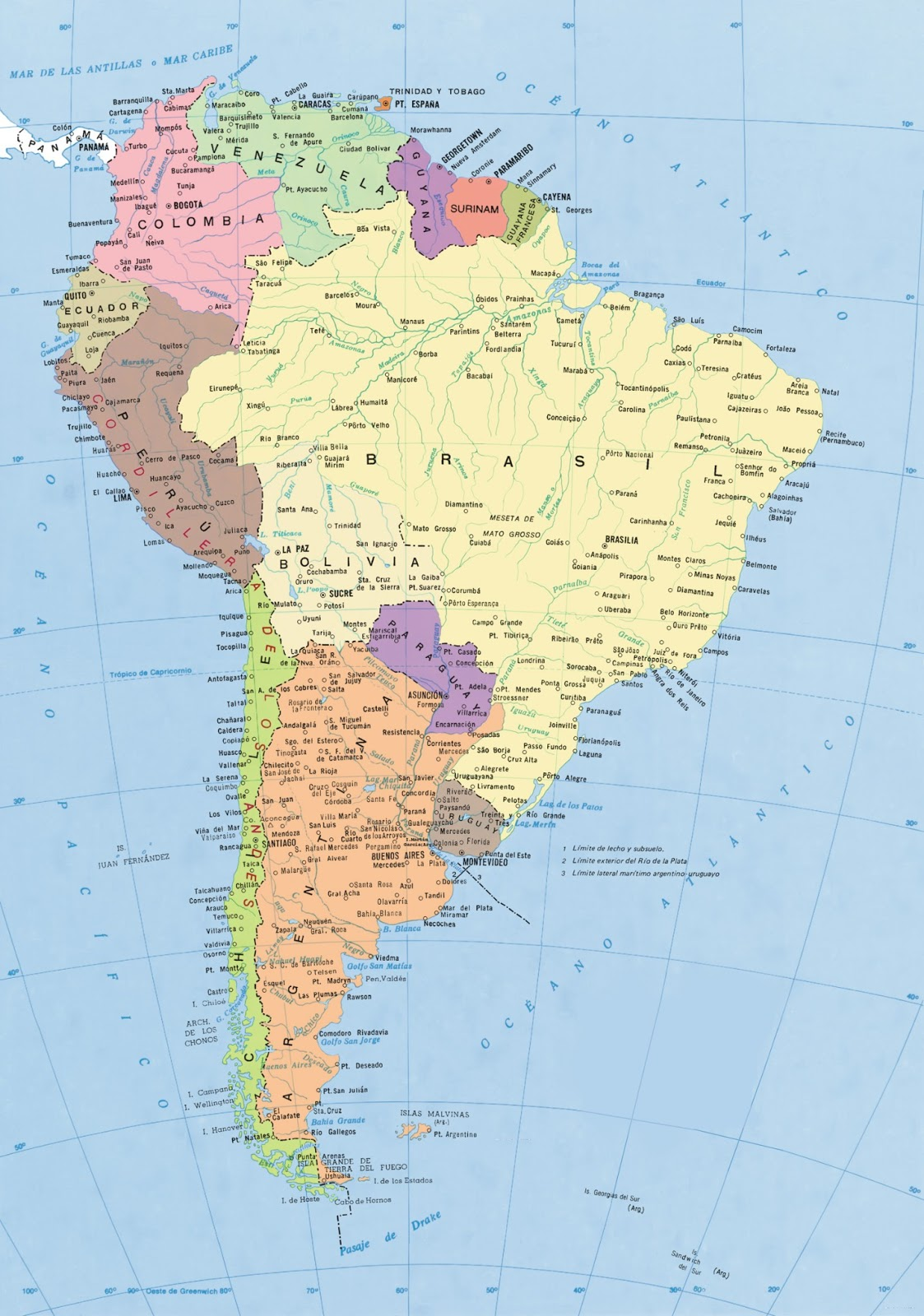 Mapa Del Sur America - Mapa de sur america