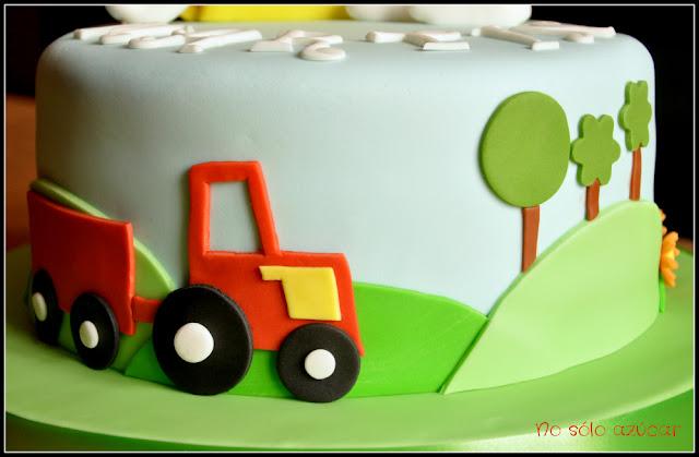 tarta decorada fondant tractor