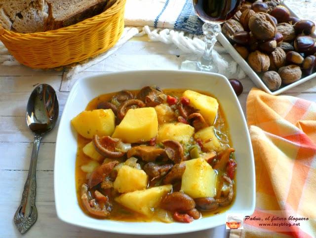 Guiso de otono de setas y patatas con niscalos