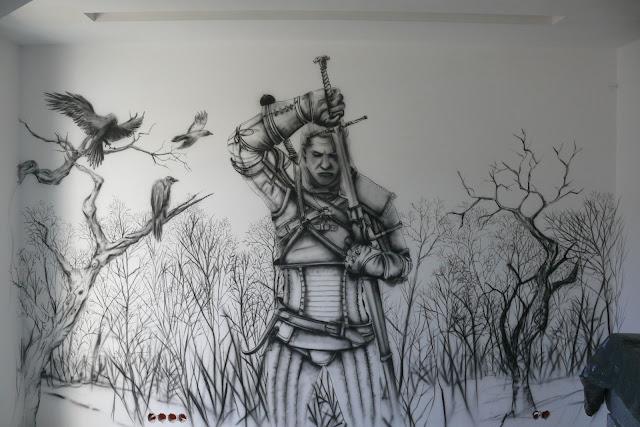 Malowanie wiedźmina w pokoju młodzieżowym, mural wykonany na ścianie