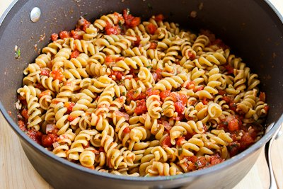 ... Vegetarian Whole Wheat Pasta Recipe with Fried Kale, Tomato Sauce, and