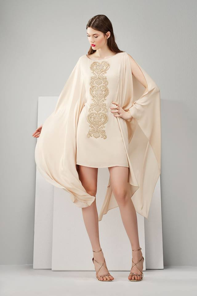 Φορεμα ιβουαρ με χρυσο κρεπ και για νυφικο