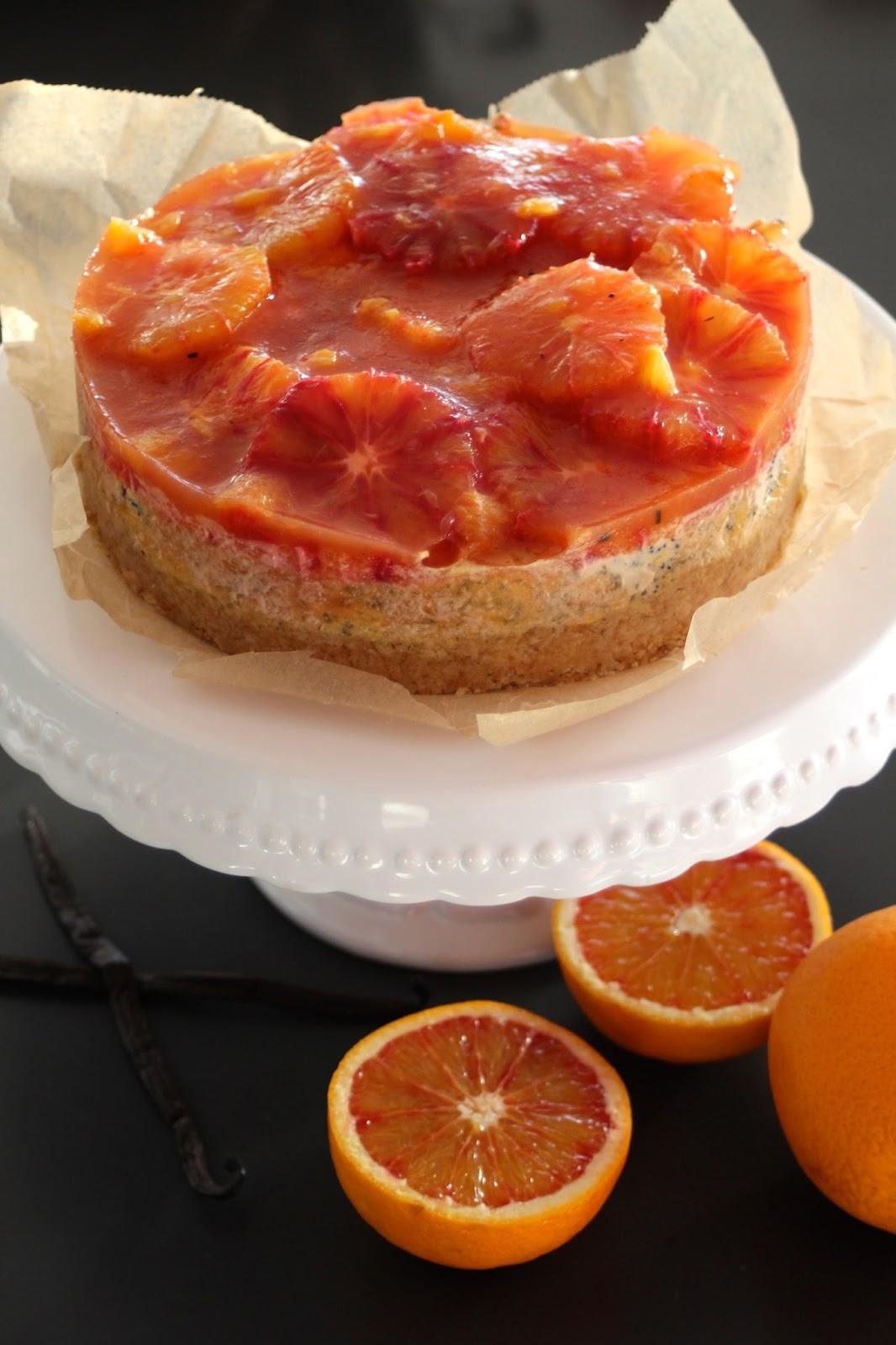 Blutorangen‑Mohn-Cheesecake