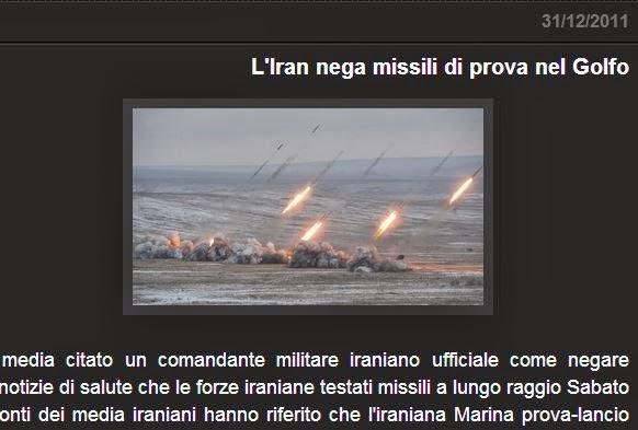 L'Iran nega missili di prova nel Golfo