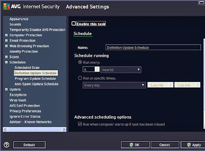 disable definition updates avg 2013