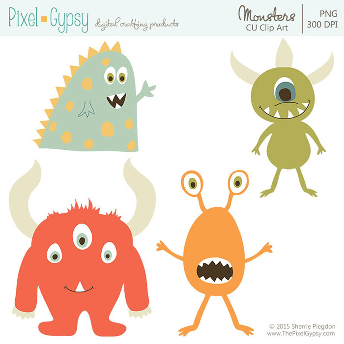 Monsters Commercial Use Clip Art