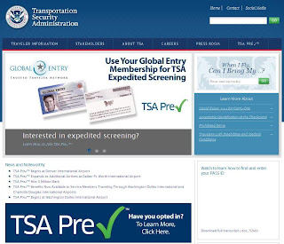 Screen Shot of TSA.gov homepage.
