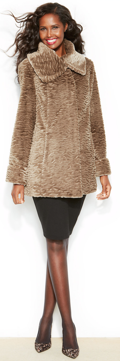 Jones New York  Faux-Fur Swing Coat