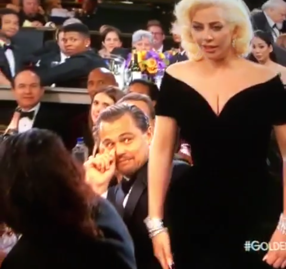 Leonardo DiCaprio's reaction to Lady Gaga at Golden Globes 2016