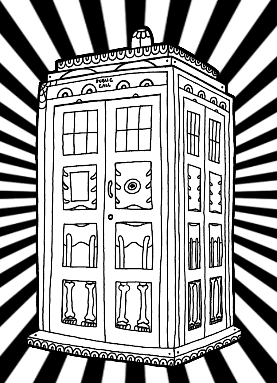 Yucca Flats N M Wenchkin S Coloring Pages Dia De Los Tardis Coloring Page