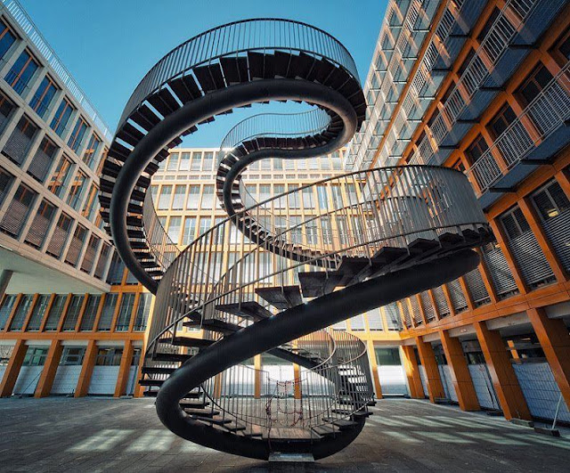 endless stairs, sculpture, germany, olafur, olafur eliasson, double spiral staircase, steel, kpmg office