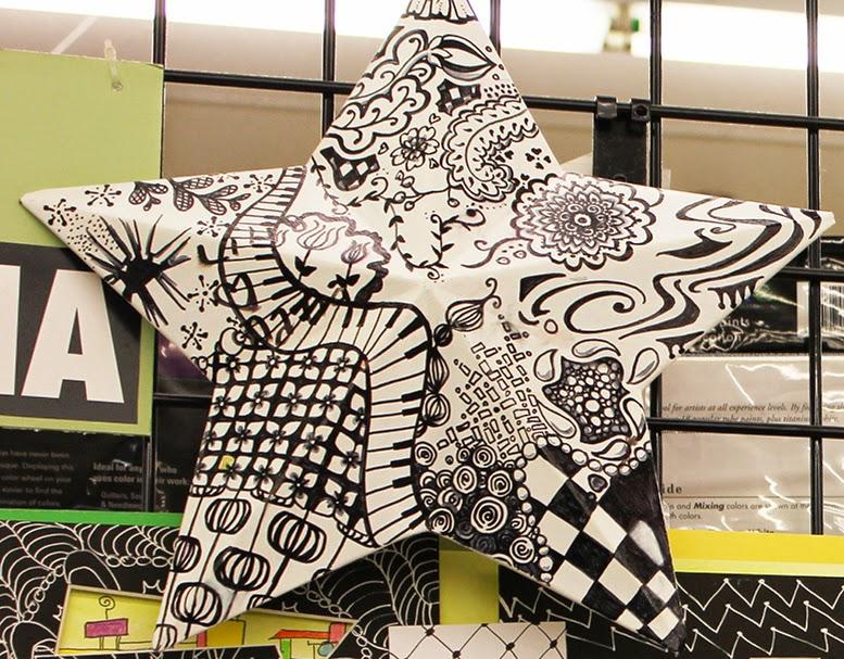 Zentangle art on a metal start
