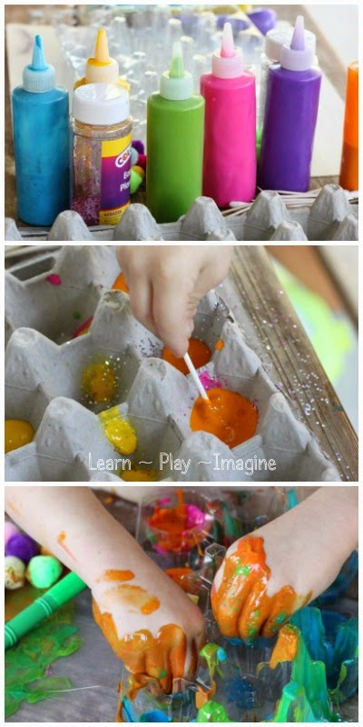 An open ended art project with a recycled egg carton