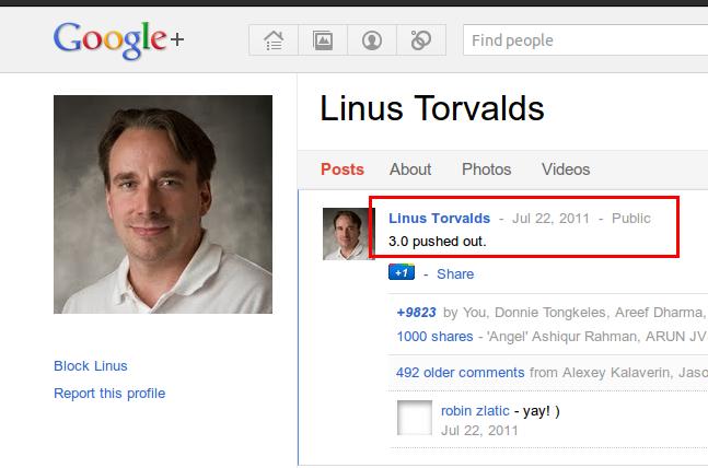 Pengumuman tidak resmi dari Linus Torvalds