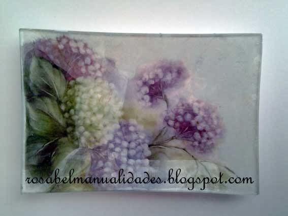 Rosabel manualidades bandejas de cristal decoradas - Bandejas de cristal ...