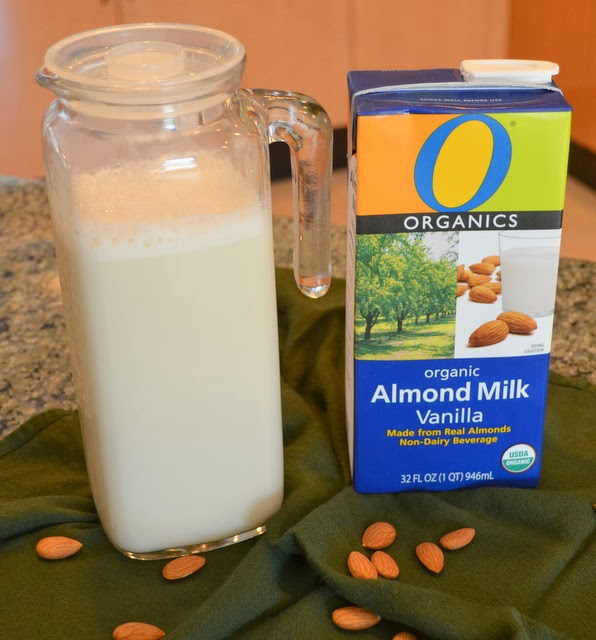 Fresh made almond milk (left) | Organics Almond Milk (right)