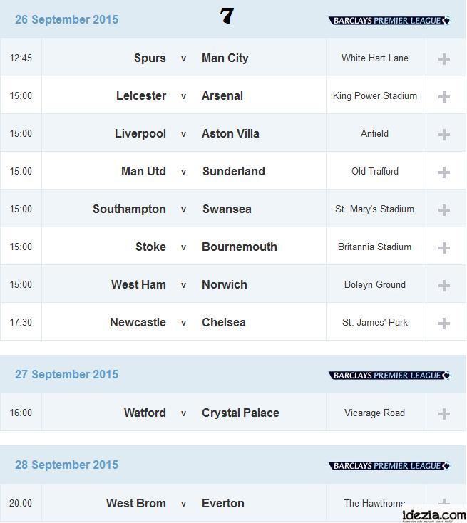 Jadwal Liga Inggris Pekan ke-7 26 27 28 September 2015