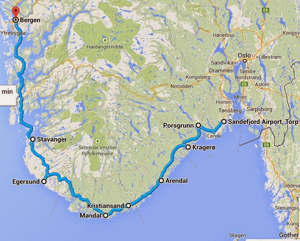 Segment 9 Sandefjord NO to Bergen NO North Sea Cycle Route