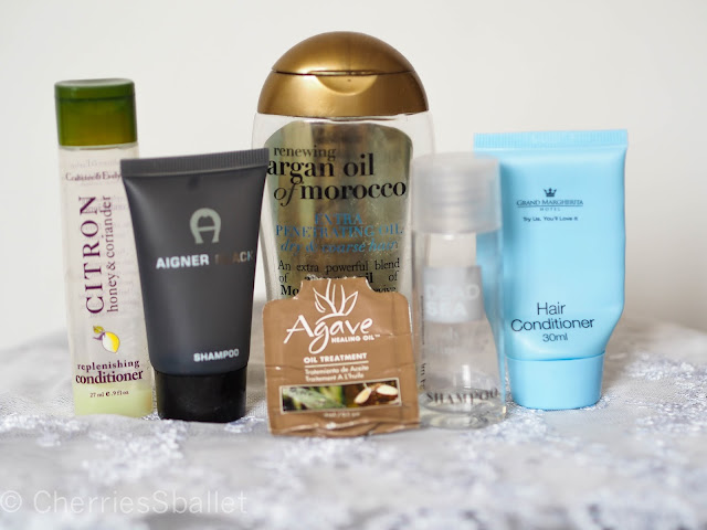 Crabtree & Evelyn Citron Honey & Coriander Replenishing Conditioner, Aigner Black Shampoo, Ogx Renewing Argan Oil of Morocco Extra Penetrating Oil, Agave Healing Oil Oil Treatment,  Dead Sea Body Minerals Shampoo, Grand Margherita Hair Conditioner