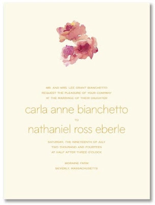 Sweet and romantic in rich pinks this Watercolor Floral Ecru Invitation