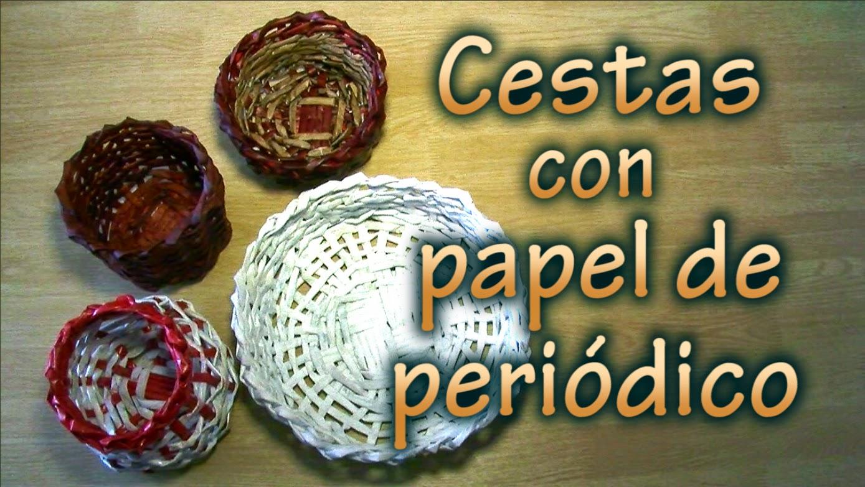 Cestas con papel de peri dico reciclaje productivo creativo - Cestas de periodico ...