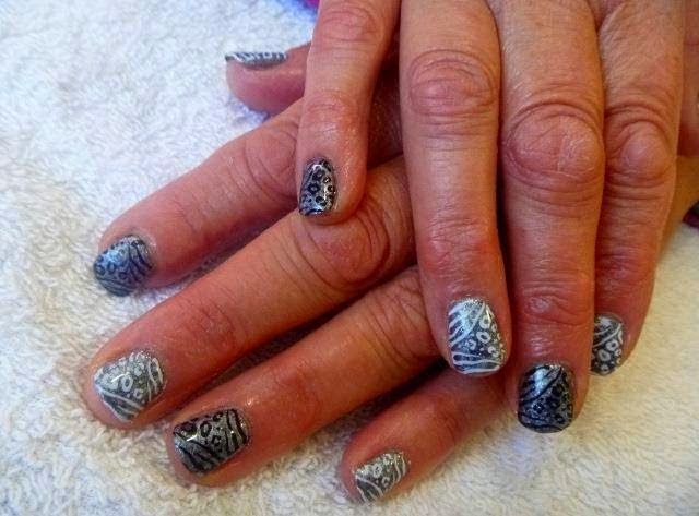 Acrylics + LED polish manicure-Hard gel overlay-laser glitz and stamping nail art-LED polish dotty manicure design