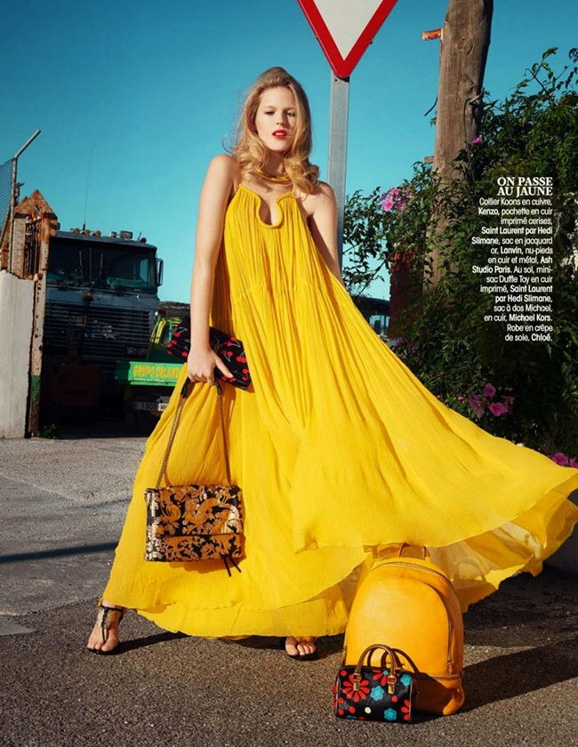 Chloé 2015 SS Yellow Crinkled Silk-Georgette Gown Editorials