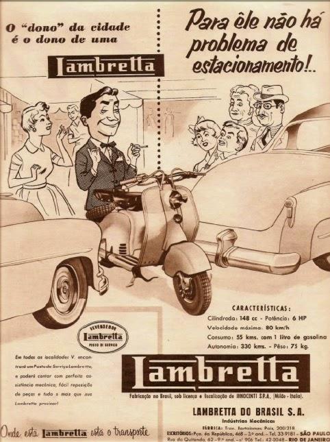 Propaganda da Lambretta em 1955: facilidade para estacionar e baixo custo de locomoção.