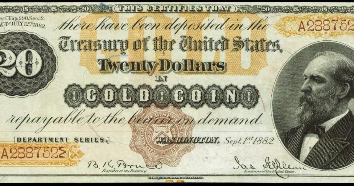 1882 twenty dollar gold certificate  james garfield  u201cocean