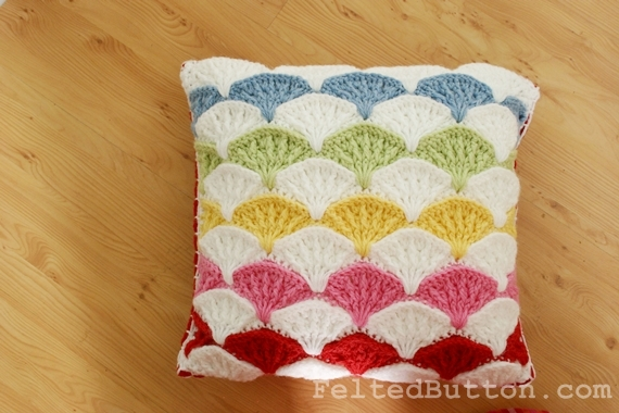 Felted Button Colorful Crochet Patterns Paintbrush Pillow Cover Classy How To Crochet A Pillow Cover
