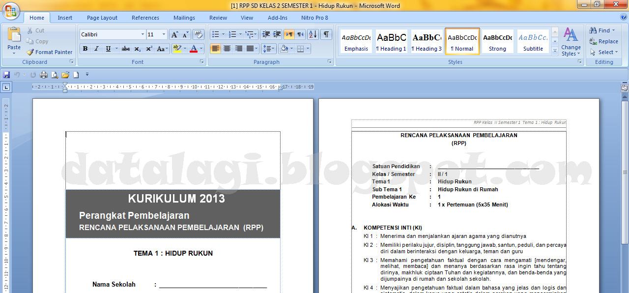 Rpp Kurikulum 2013 Kelas 2 Semester 1 Dan 2 Data Sekolah Madrasah