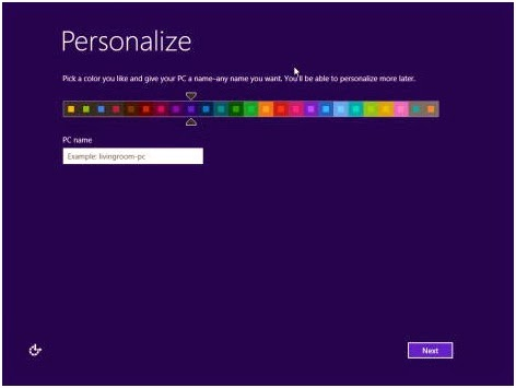 Menu tampilan dan nama PC windows 8