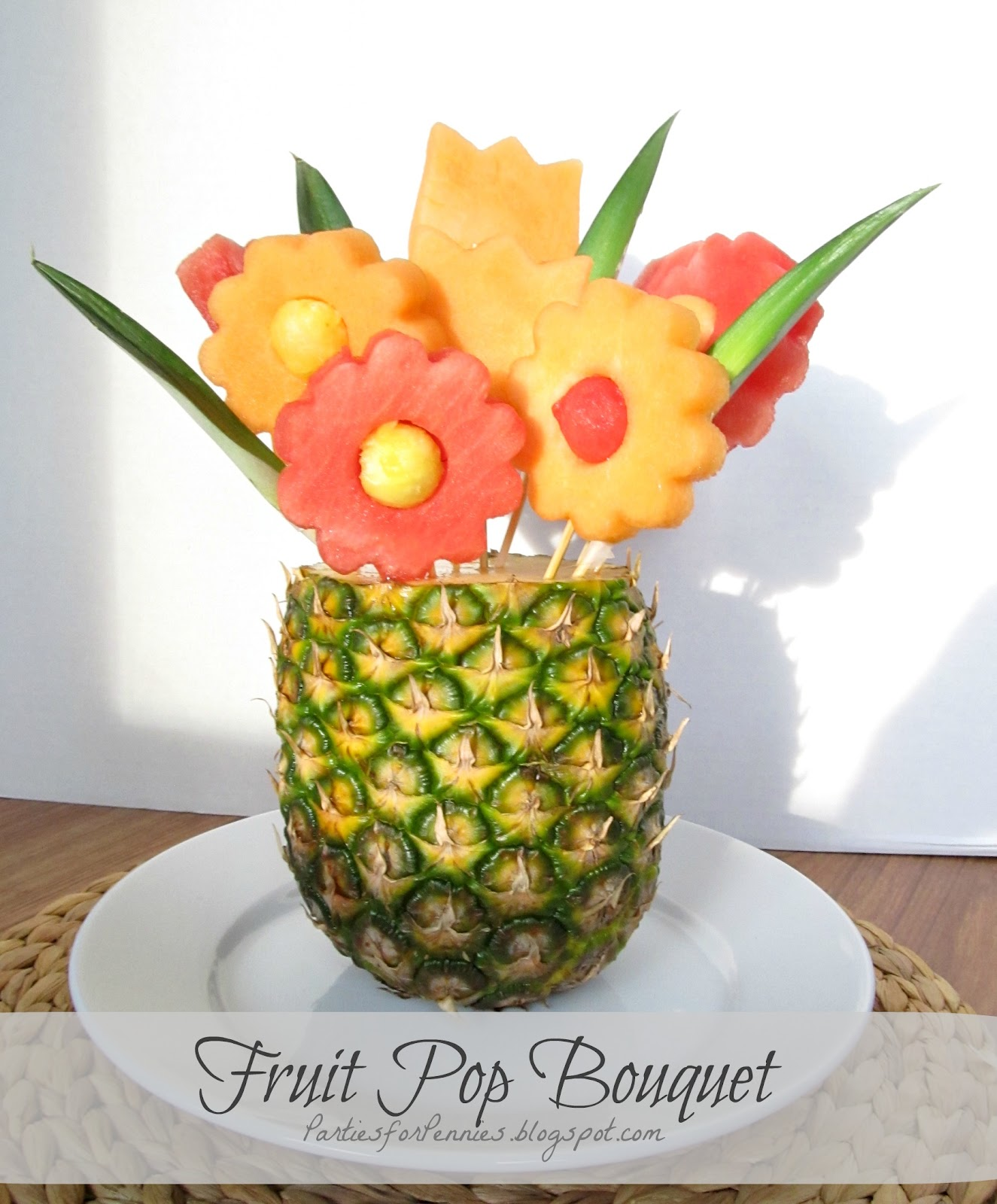 Parties for pennies a healthy alternative to cake pops Fruit bouquet
